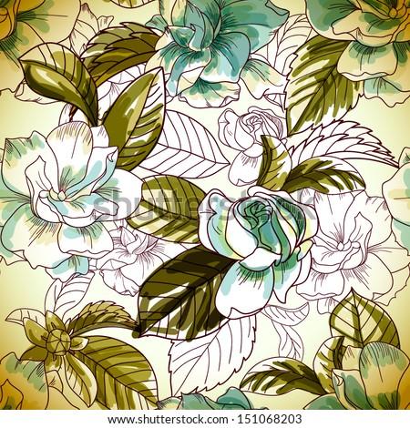 seamless gardenia pattern