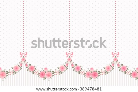 Seamless Garlands of Roses and Bows on a vintage polka dot background. Vector floral border, endless horizontally pattern. Shabby chic style.