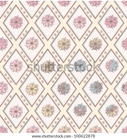 Seamless gentle floral diagonal pattern. (vector)