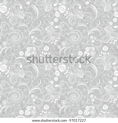 Seamless gentle gray-white floral pattern with vintage flowers (vector)