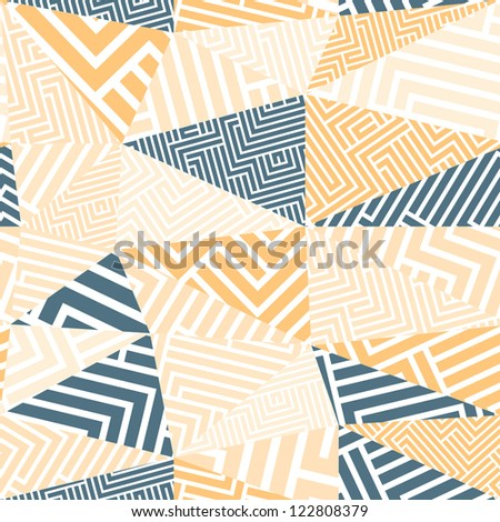 Seamless geometric abstraction with maze lines, vector background.
