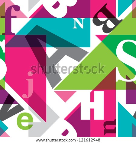 Seamless geometric alphabet retro background pattern in vector - stock vector