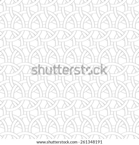 Seamless geometric background. Modern monochrome 3D texture. Pattern with realistic shadow and cut out of paper effect.3D interlocking circles.