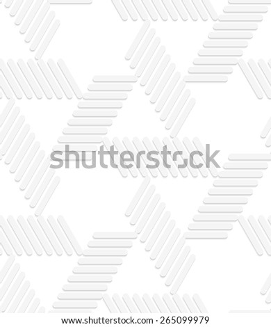 Seamless geometric background. Pattern with realistic shadow and cut out of paper effect.White 3d paper.3D white striped blocks forming triangles.