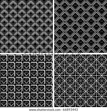 Seamless geometric checked designs set. Vector art.