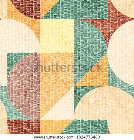 Seamless geometric embroidery pattern. Handmade, grunge texture. Bohemian print for home decor, carpets, pillows. Simple Scandinavian motifs. Vector illustration.