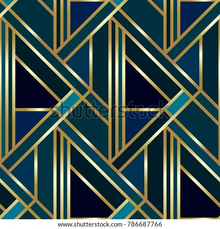 Seamless geometric golden Art Deco pattern. Vector fashion backdrop in vintage style