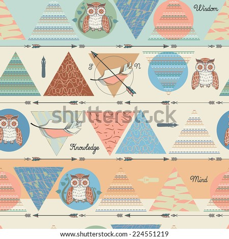 Seamless geometric hand drawn background with birds vector