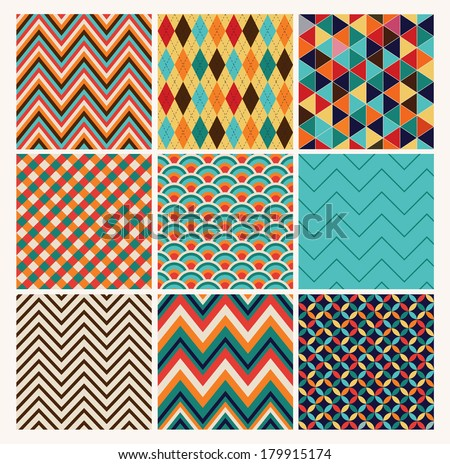 Seamless geometric hipster background set Retro Patterns Vector