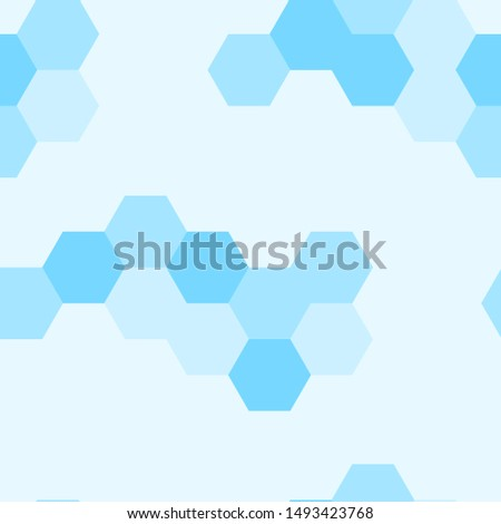 Seamless geometric honeycomb. Light blue pattern. Trendy honey design. Shapes mosaic vector backdrop. Polygonal illustration. Colorful polygons with six corners. Abstract Hexagon grid texture.
