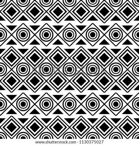 seamless geometric native ethnic pattern style monochrome, vector illustration