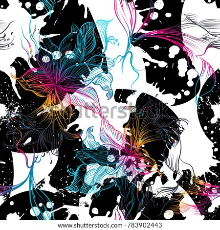 Seamless geometric pattern background, vintage style with gradient flowers, dots and splashes
