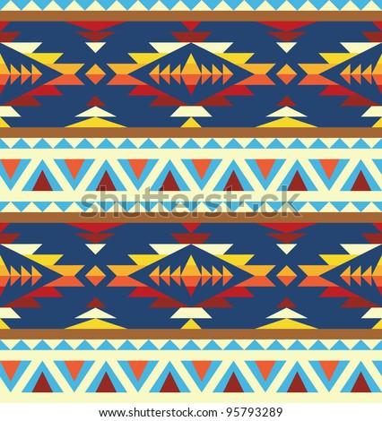 Seamless geometric pattern in native american style