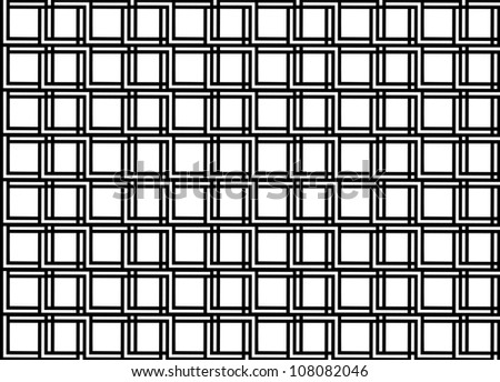 Seamless geometric pattern in op art design. Black and white vector illustration. Square.