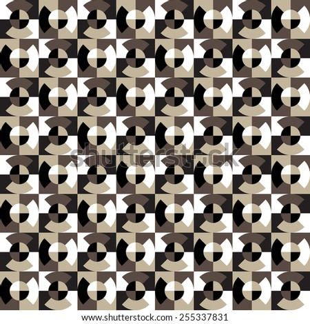 Seamless geometric pattern of the quarters of the circle on the squares.