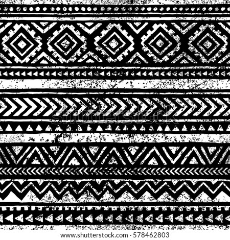 Seamless geometric pattern. Print for your textile. Ethnic and tribal motifs. Black and white ornament. Grungy texture. Vector illustrations.