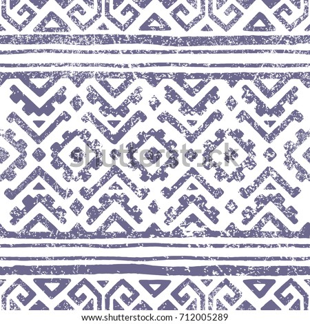 Seamless geometric pattern. Print for your textile. Ethnic and tribal motifs. Gray and white ornament. Grungy texture. Vector illustrations. - Shutterstock ID 712005289