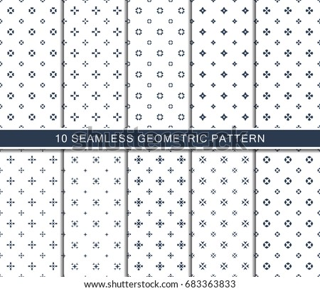 Seamless geometric pattern set, unique abstract decorative shapes .