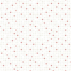 Seamless geometric pattern. Small subtle circles and fine red hearts. Vector repeating texture for Valentine's Day