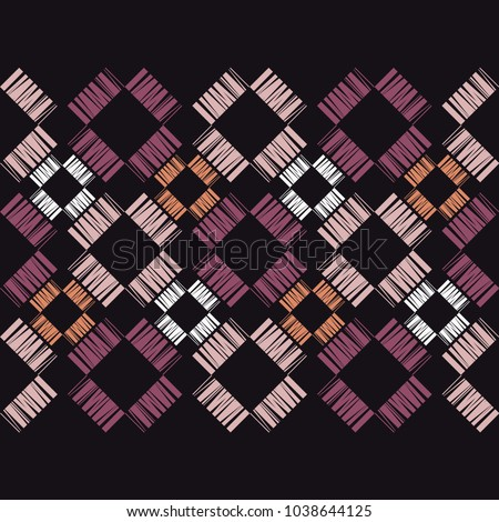 Seamless geometric pattern. Texture from figured strips. Scribble texture. Textile rapport.