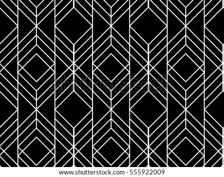 Seamless geometric pattern. Vector abstract classical background in black and white color - Shutterstock ID 555922009
