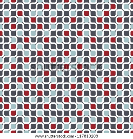 Seamless geometric pattern. Vector texture with maze and chaotic colorful dots