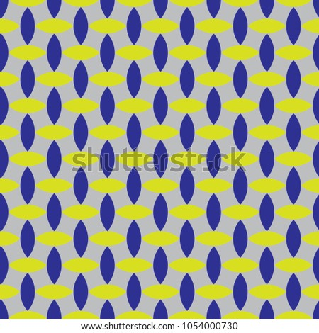 seamless geometric pattern with almond shapes in bright greenish yellow and blue