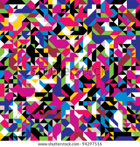 Seamless geometric pattern with colorful elements, vector background.