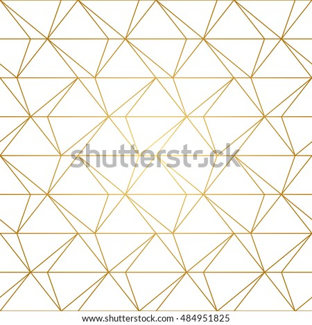 Seamless geometric pattern with golden lines on white background. Endless texture of triangles and nodes. Abstract vector eps8 illustration.