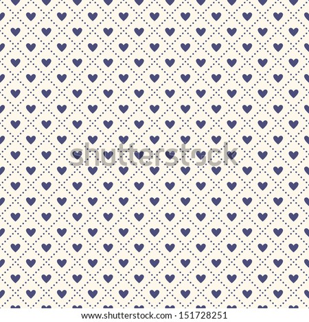 Seamless geometric pattern with hearts. Vector repeating texture