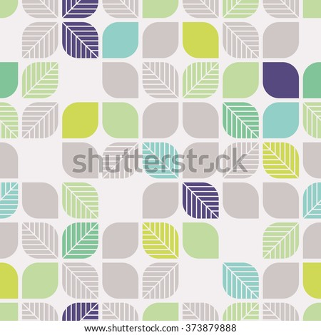 seamless geometric pattern with leaves
