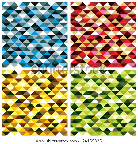 Seamless geometric patterns with colorful elements, vector backgrounds set.