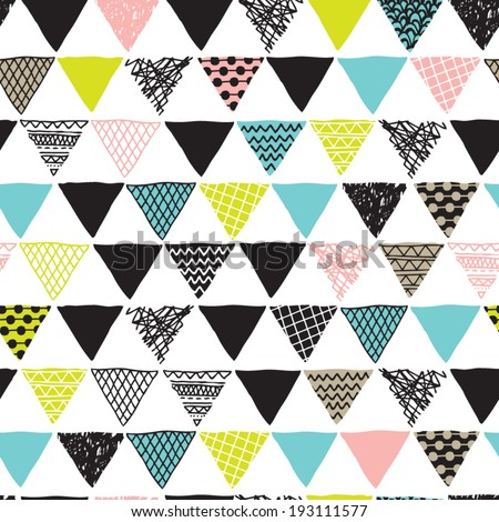 Seamless geometric plus triangle aztec details decorative background pattern in vector