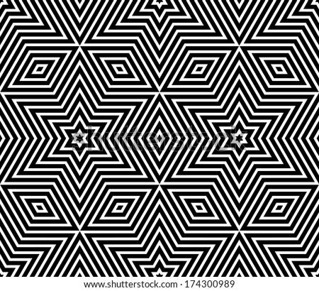 Seamless Geometric Texture. Stars Pattern. Vector Art.