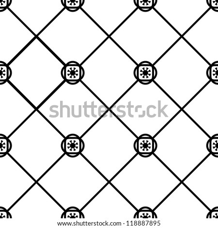 Seamless  geometric tile pattern black and white