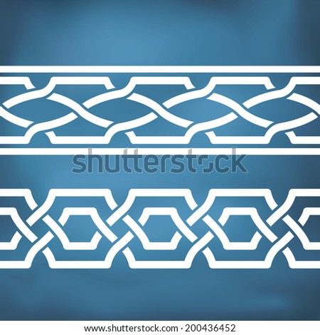 Seamless geometric tiling borders Inspired by old ottoman and Arabian ornaments