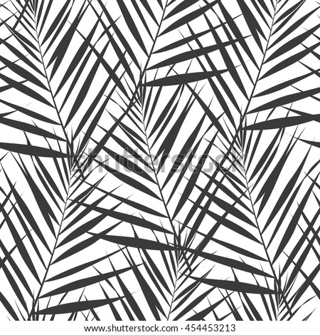 Seamless geometric twigs with leaves of palm trees. Modern stylish design. Vector background.