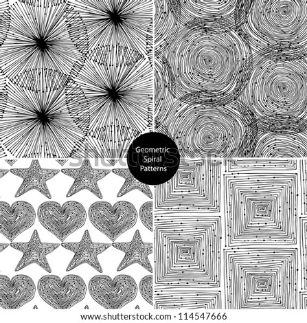 Seamless geometrical background black set. Endless patterns with round elements, dots, spirals, hearts and stars. Background collection can be use for arts, cards, textile, wallpapers, web pages