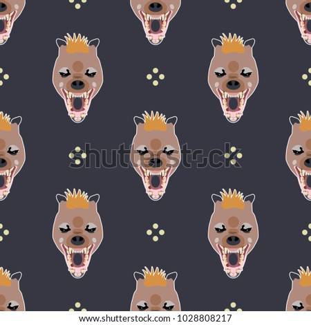 Seamless geometrical pattern with stylized heads of hyena and abstract polka dots. Cartoon style.