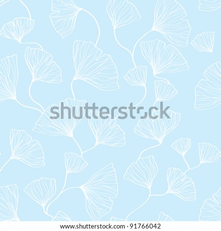 Seamless ginkgo leaves vector background - stock vector