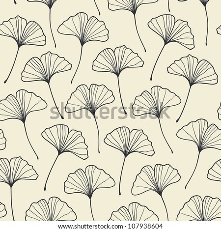 Seamless ginkgo pattern. Vector illustration