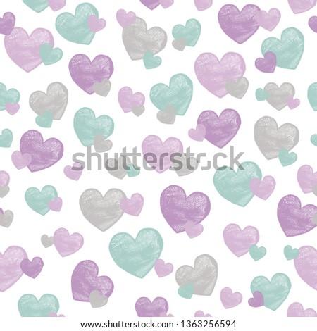 seamless girls heart pattern