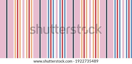Seamless girly stripe pattern with ฺNavy blue, Red and white with yellow vertical parallel stripes in a pink background. can be used for textile, wallpaper, wrapping, fabric.