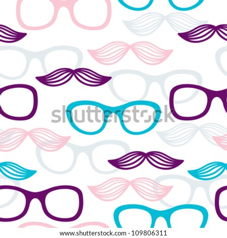 Seamless glasses and mustache pattern in purple, pink and blue color
