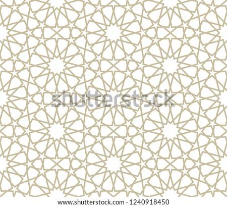 Seamless gold oriental pattern. Islamic background. Arabic linear texture. Vector illustration.