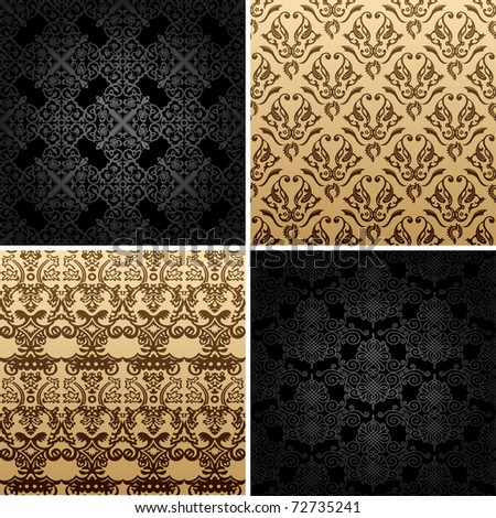seamless gold set four vintage backgrounds ornament decor retro. Gold background. Gold pattern. Black pattern