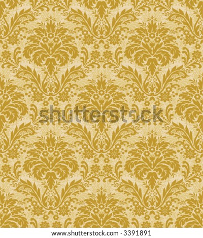 Seamless Golden Damask Pattern - stock vector