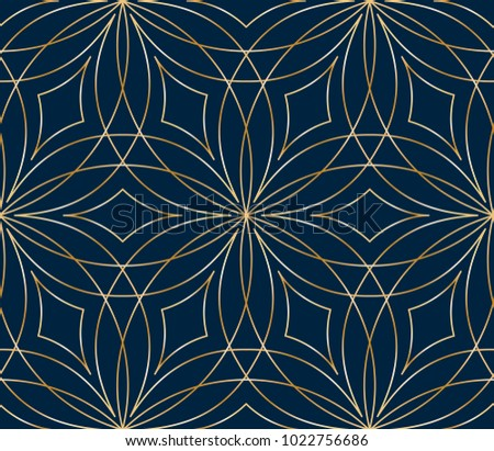 Seamless golden flower pattern on blue background