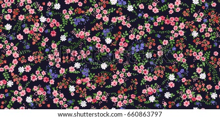 Seamless Gorgeous Bright Pattern In Small Garden Flowers. Millefleur.  Floral Background For Textile,