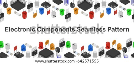 Seamless gorisontal pattern background of Isometric Electronic components. Background of different Electronic components in isometruc style.
